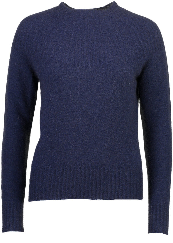 Navy Possum Merino Yoke Neck Cable Jumper Possum Merino