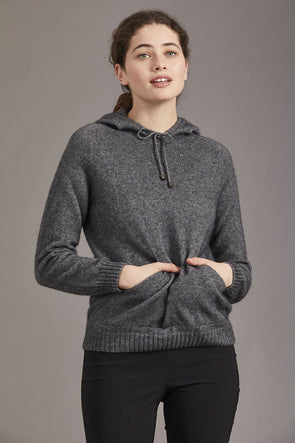 Pewter McDonald Possum Merino Womens Casual Hoodie Jumper