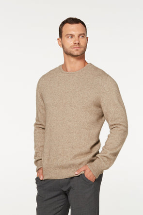 Mocha Possum Merino and Silk Crew Neck Jumper