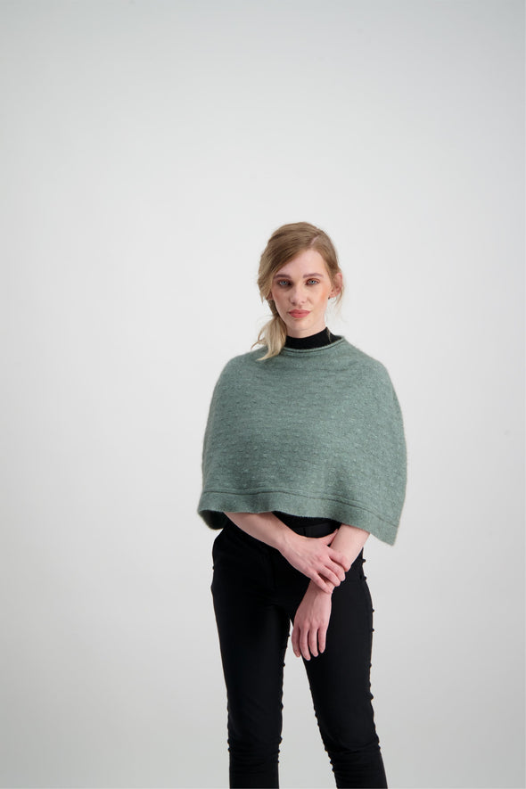 Mint Float Stitch Poncho Possum Merino