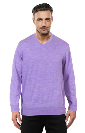 Purple Fine Weight Merino Wool V Neck