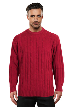 Cherry Cable Crew Neck Jumper Ansett Plain Knitwear