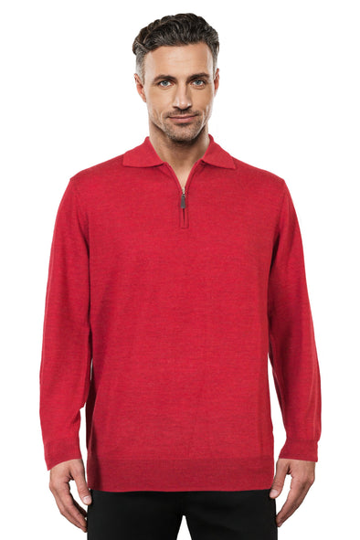 Red Half Zip Fine Merino