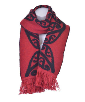 Red Possum Merino Koru Fringed Scarf