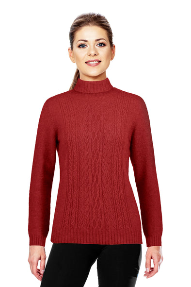 Red - Possum Fur Polo Neck Jumper
