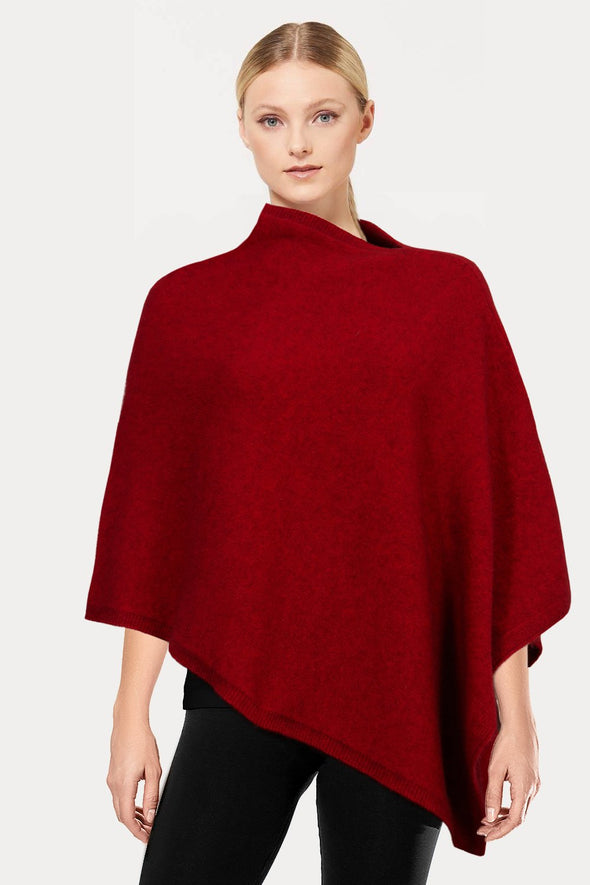 Red Plain Possum Poncho