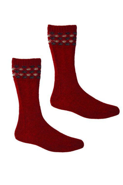 Red Possum Merino Wave Trim Socks