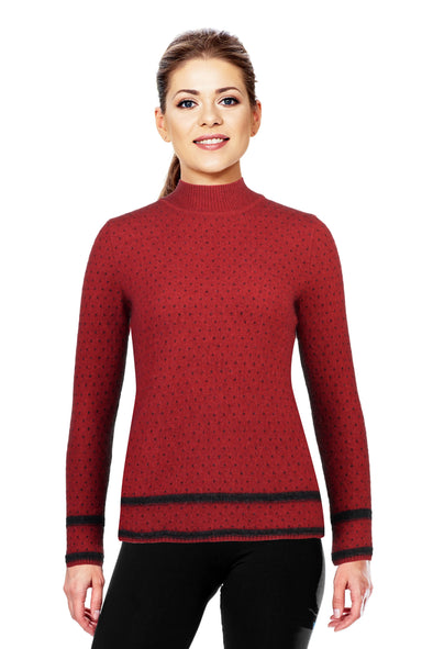 Red Two Tone Turtle Neck