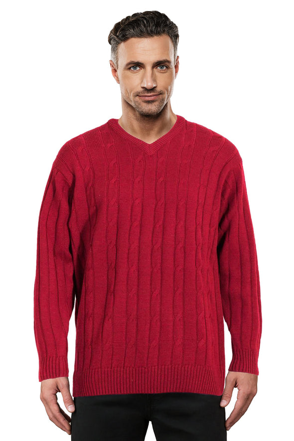Cherry Cable V Neck Jumper