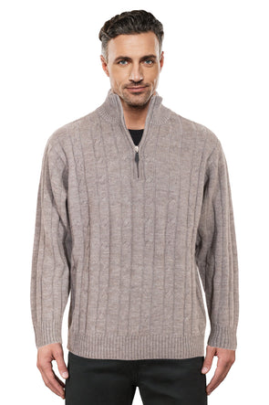 Sable Half Zip Cable Knit Jumper Ansett Plain Knitwear