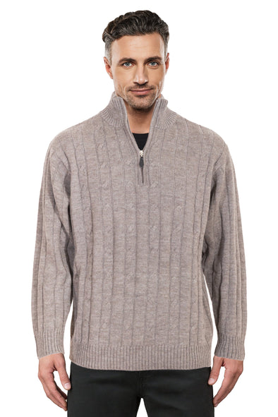 Sable Half Zip Cable Knit Jumper