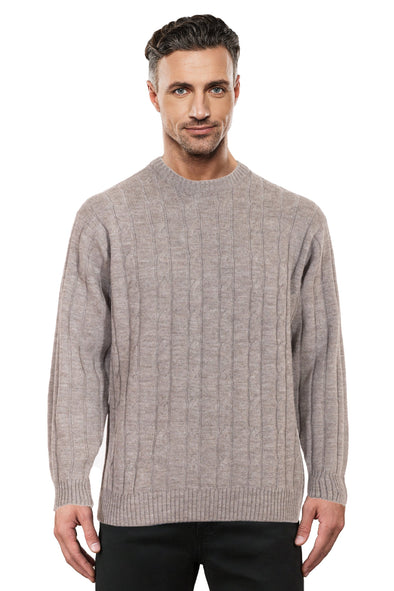 Sable Cable Crew Neck Jumper Ansett Plain Knitwear
