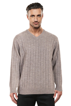 Sable Cable V Neck Jumper Ansett Plain Knitwear