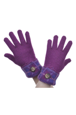 Berry Possum Merino Tartan Glove Possum Accessories