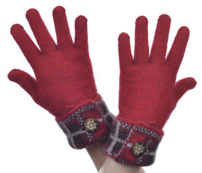 Red Possum Merino Tartan Glove