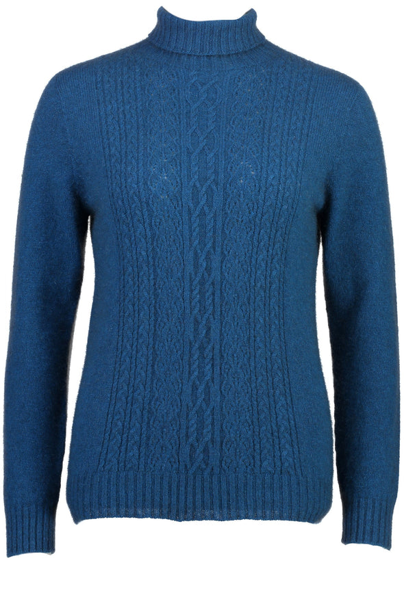 Teal - Possum Fur Polo Neck Jumper Possum Merino