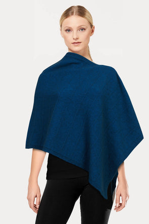 Teal Self Pattern Possum Poncho