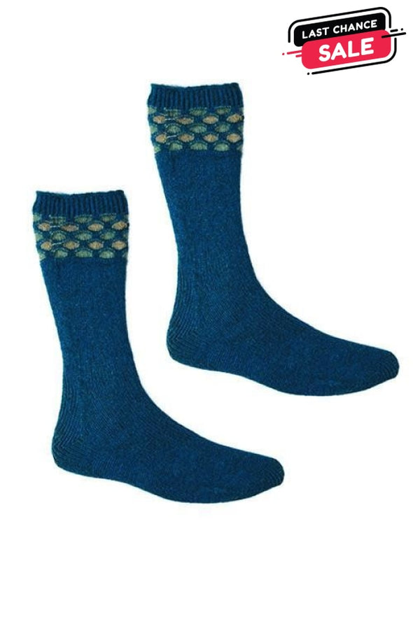 Teal Possum Merino Wave Trim Socks