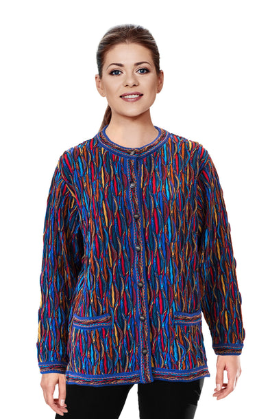 Wave - Bright Ladies Long Cardigan Geccu 3D Multi Colour