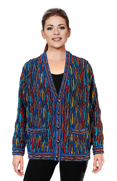 Wave - Bright V Cardigan Geccu 3D Multi Colour