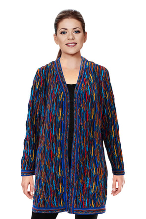Wave - Bright Ladies Swing Coat Geccu 3D Multi Colour