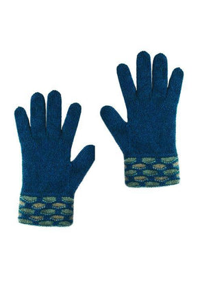 Teal Possum Merino Wave Trim Glove Possum Accessories