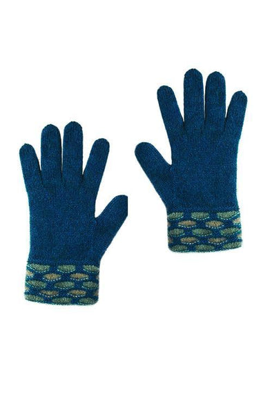 Teal Possum Merino Wave Trim Glove