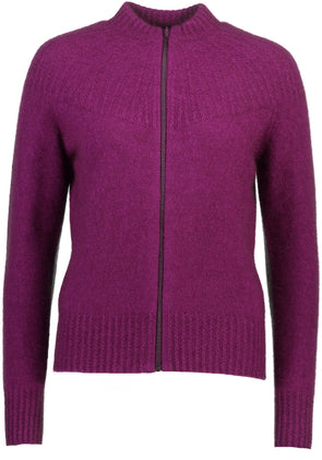 Berry Possum Merino Yoke Neck Cable Jacket Possum Merino