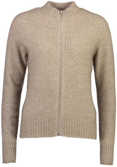 Mocha Possum Merino Yoke Neck Cable Jacket