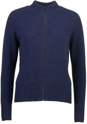 Navy Possum Merino Yoke Neck Cable Jacket