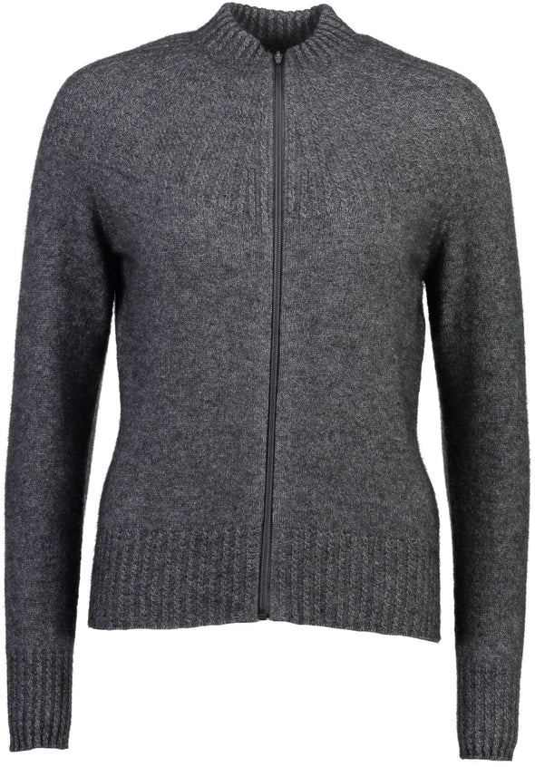 Pewter Possum Merino Yoke Neck Cable Jacket