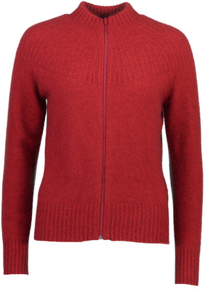 Red Possum Merino Yoke Neck Cable Jacket Possum Merino