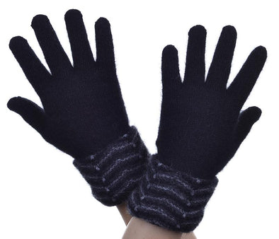 Black Possum Fur Multi Tone Cuff Gloves