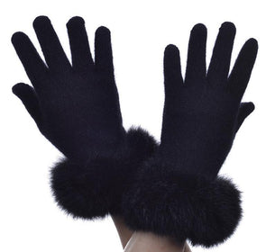 Black Possum Merino Fur Trim Glove Possum Accessories