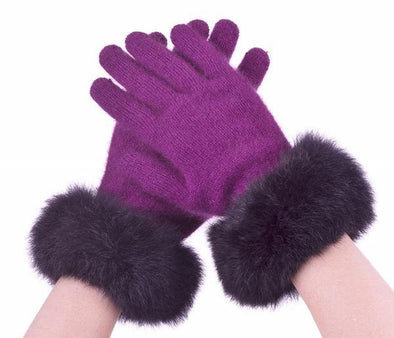 Berry Possum Merino Fur Trim Glove