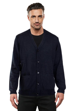 Fine Weight Black Merino Cardigan - SIZE M ONLY