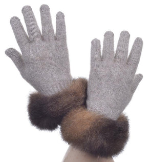 Mocha Possum Merino Fur Trim Glove