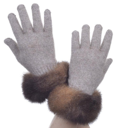 Mocha Possum Merino Fur Trim Glove Possum Accessories