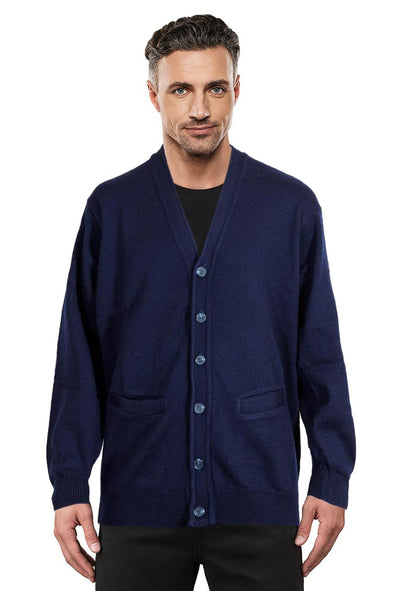 Navy Machine Washable Cardigan Ansett Plain Knitwear