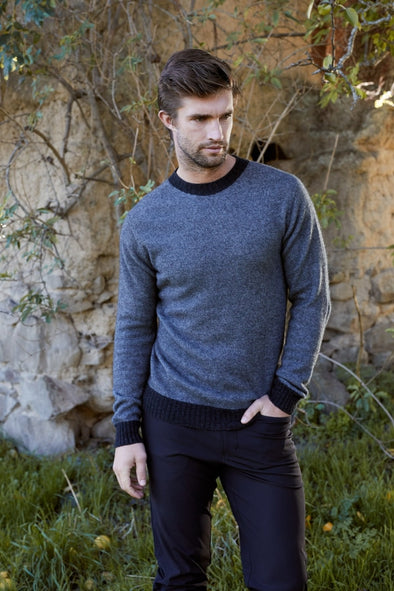 Pewter Possum Two Tone Crew Neck Jumper Possum Merino