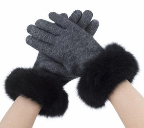 Pewter Possum Merino Fur Trim Glove