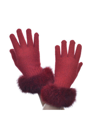 Red Possum Merino Fur Trim Glove