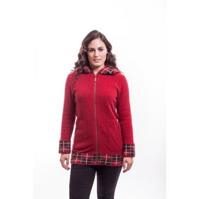 Red Tartan Jacket With Hood Possum Merino