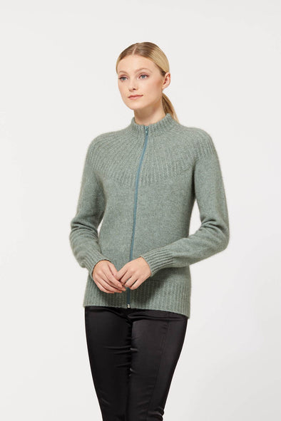 Mint Possum Merino Yoke Neck Cable Jacket Xs Possum Merino