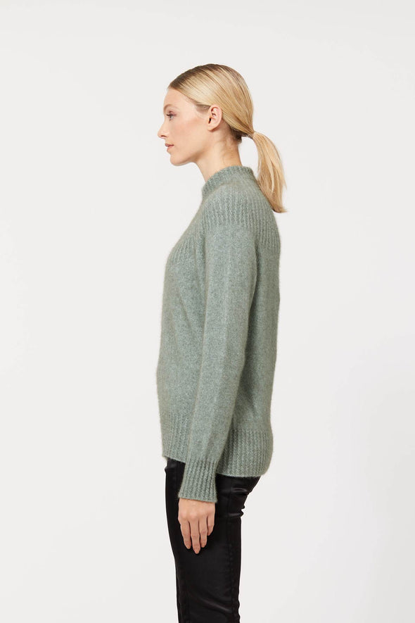 Mint Possum Merino Yoke Neck Cable Jacket Possum Merino
