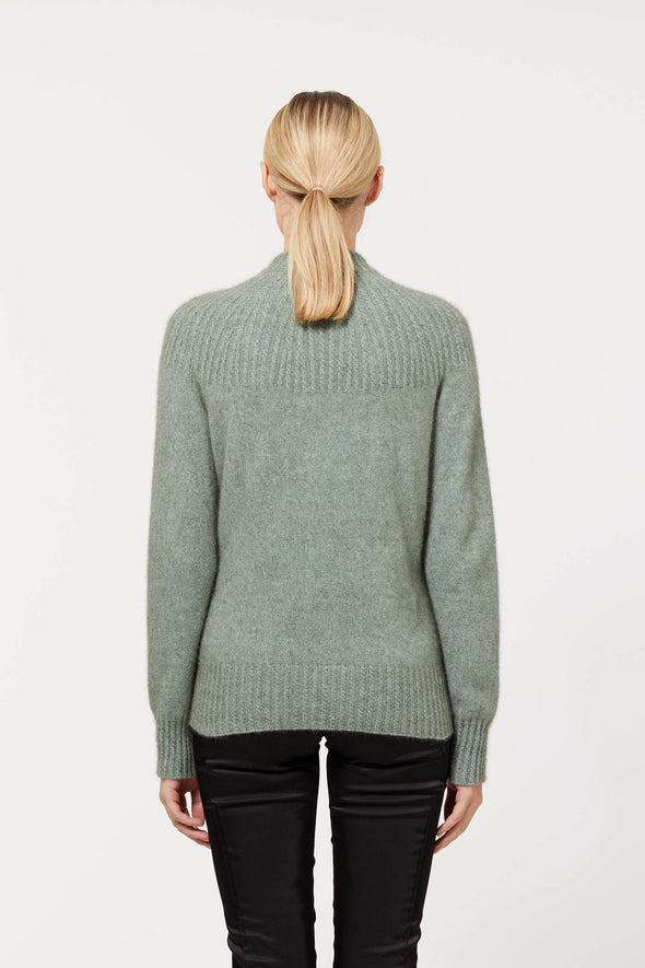 Mint Possum Merino Yoke Neck Cable Jacket