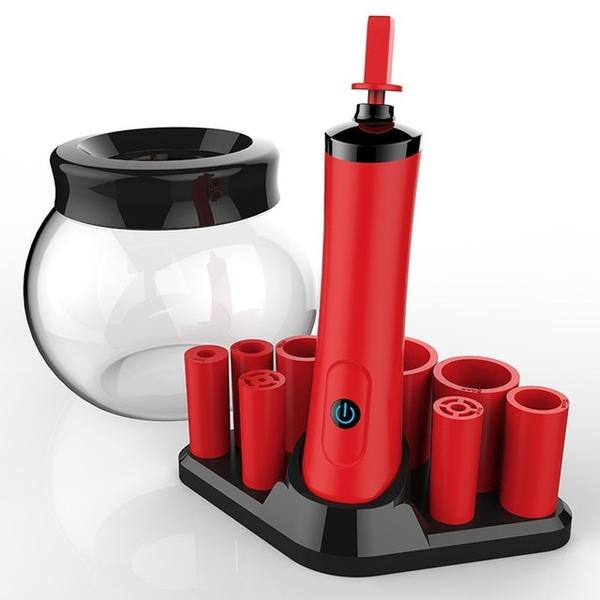 Red electric brush cleaner with bowl and silicone collars
