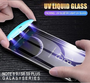 5D UV Liquid Curved Full Glue Tempered Glass For Samsung Galaxy S8 S9 10 Plus Note 8 9 S10 Lite Screen Protector Full Cover Film - Amzon World
