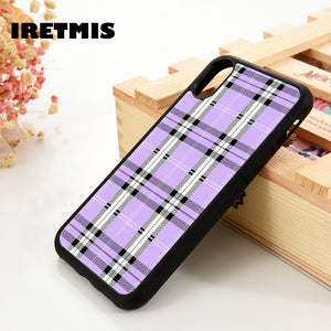 Iretmis 5 5S SE 6 6S Soft TPU Silicone Rubber phone case cover for iPhone 7 8 plus X Xs 11 Pro Max XR Lavender Plaid - Amzon World