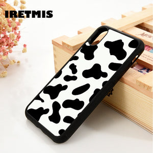Iretmis 5 5S SE 6 6S Soft TPU Silicone Rubber phone case cover for iPhone 7 8 plus X Xs 11 Pro Max XR Cow Print Black White - Amzon World